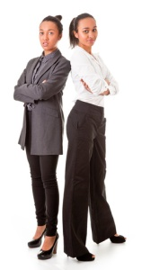 Image two business women in casual poses