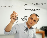 Image of man diagramming business strategy